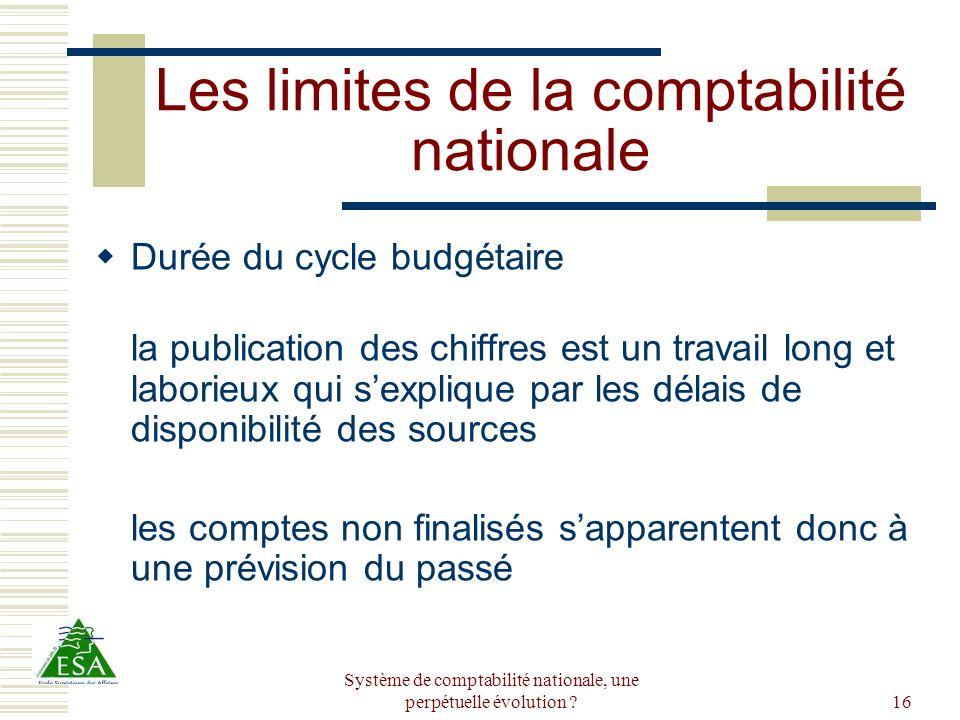 Système de comptabilité nationale, une perpétuelle évolution ?16 Les limites de la comptabilité nationale Durée du cycle budgétaire la publication des