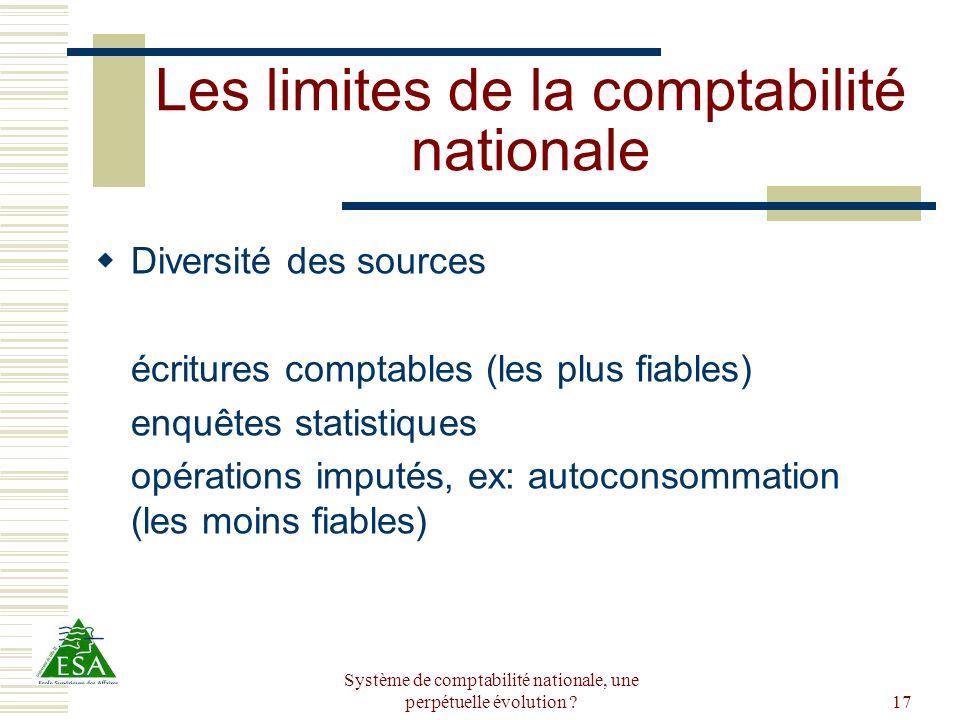 Système de comptabilité nationale, une perpétuelle évolution ?17 Les limites de la comptabilité nationale Diversité des sources écritures comptables (