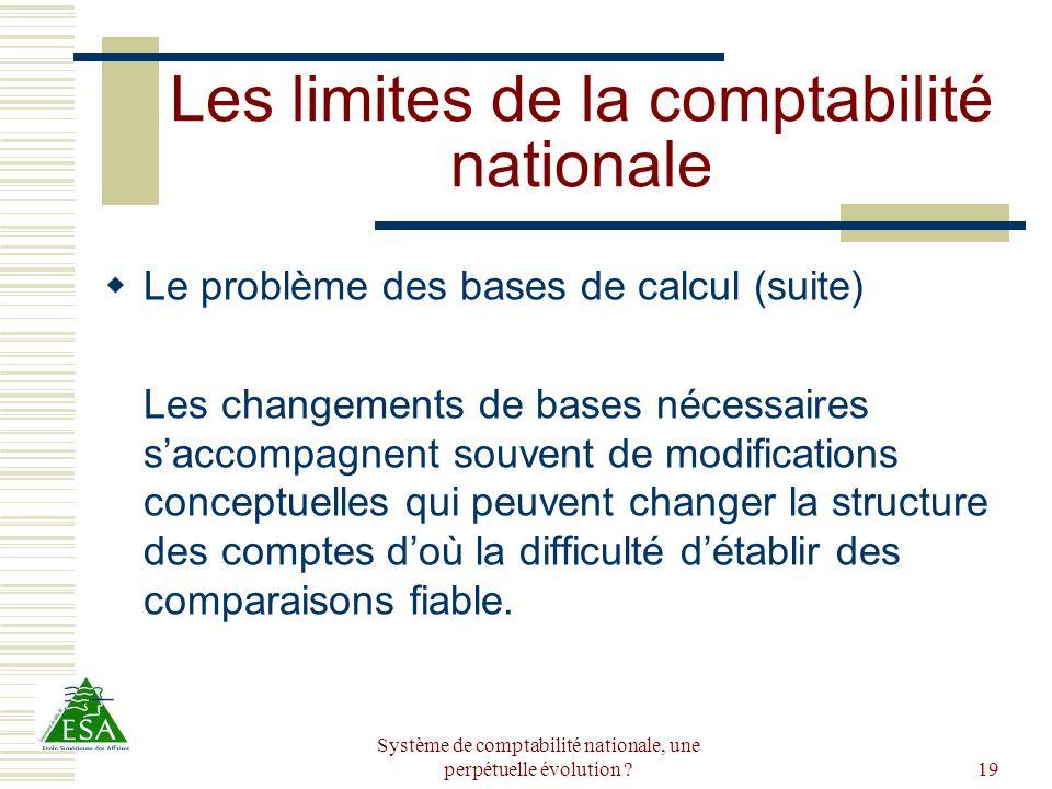 Système de comptabilité nationale, une perpétuelle évolution ?19 Les limites de la comptabilité nationale Le problème des bases de calcul (suite) Les