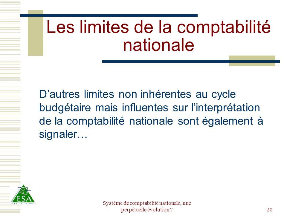 Système de comptabilité nationale, une perpétuelle évolution ?20 Les limites de la comptabilité nationale Dautres limites non inhérentes au cycle budg