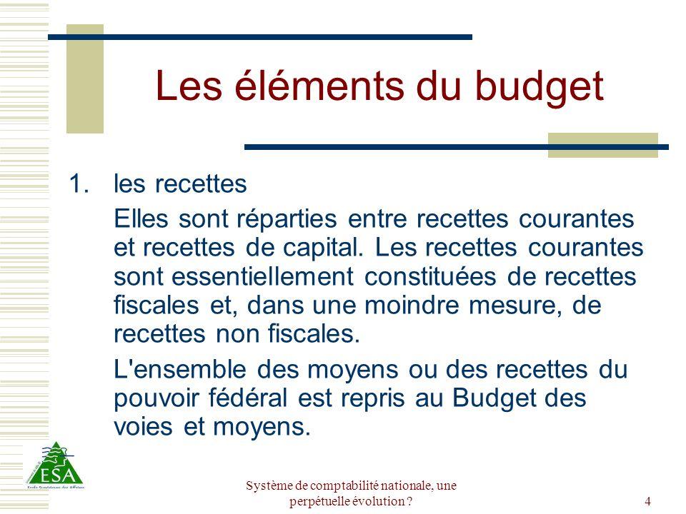 Système de comptabilité nationale, une perpétuelle évolution ?5 Les éléments du budget 2.les dépenses Chaque département (ministère) demande des crédits afin de mettre en oeuvre la politique gouvernementale (salaires, crédits de fonctionnement, achats, subsides...).
