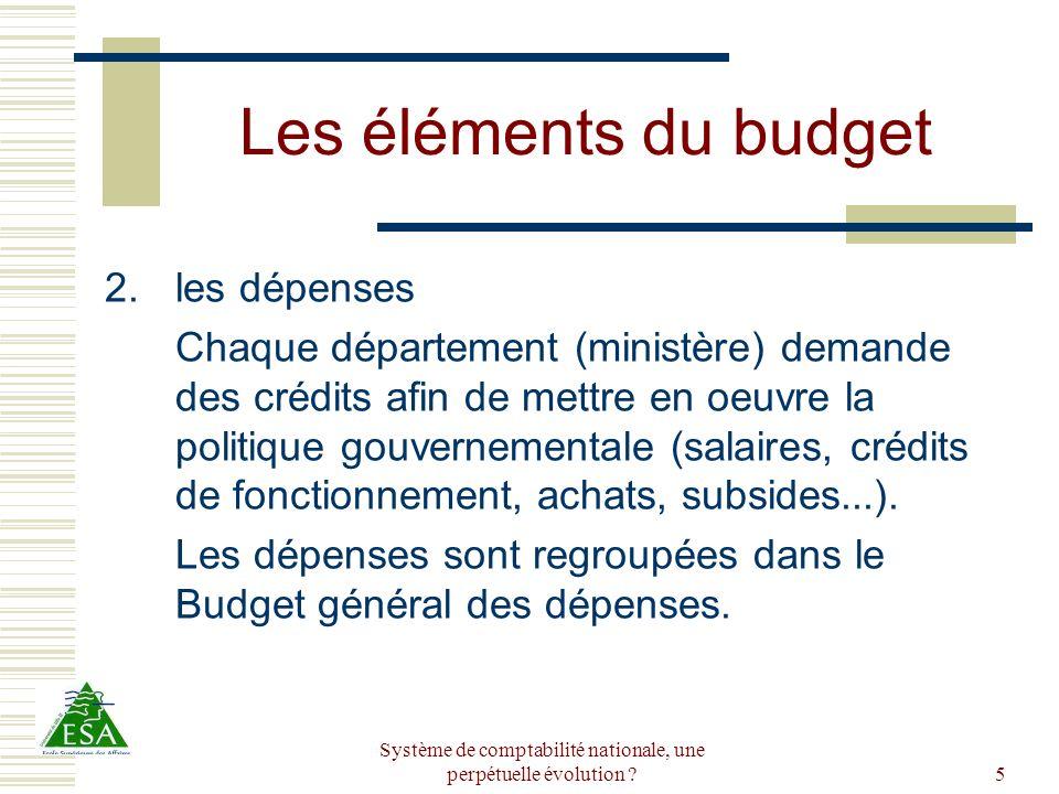 Système de comptabilité nationale, une perpétuelle évolution ?5 Les éléments du budget 2.les dépenses Chaque département (ministère) demande des crédi