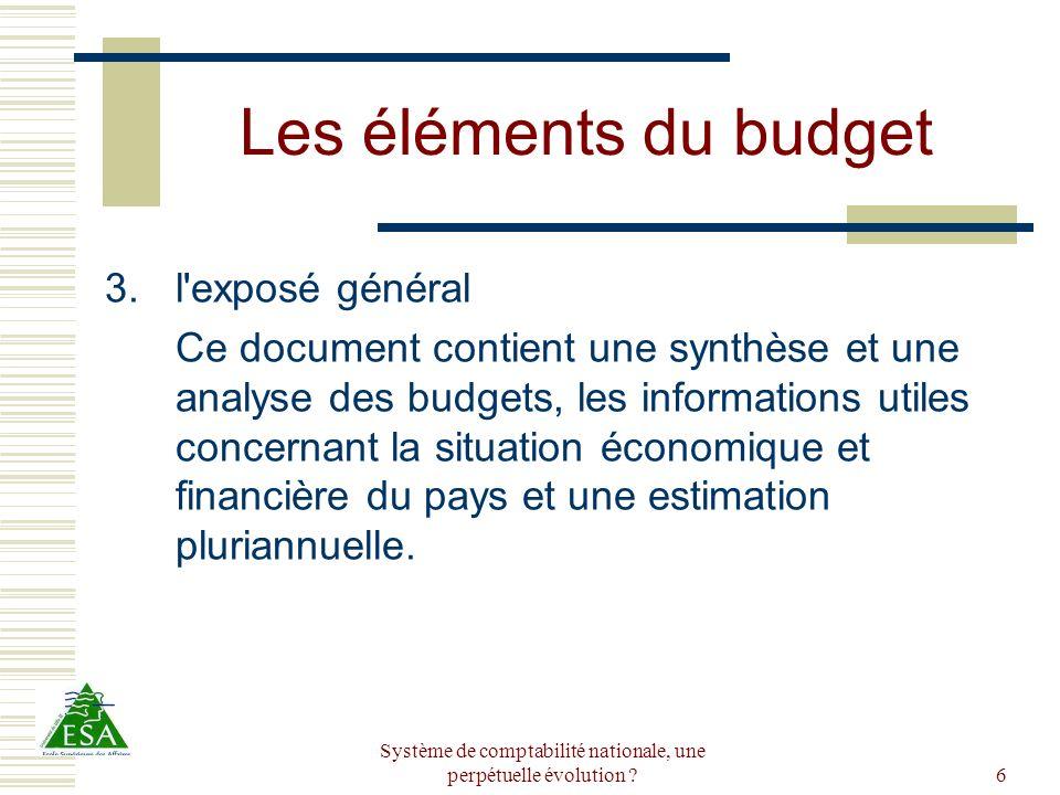 Système de comptabilité nationale, une perpétuelle évolution ?6 Les éléments du budget 3.l'exposé général Ce document contient une synthèse et une ana