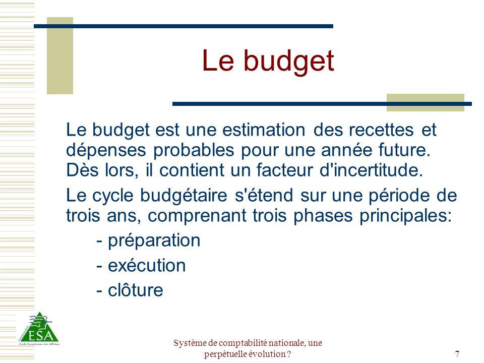 Système de comptabilité nationale, une perpétuelle évolution ?7 Le budget Le budget est une estimation des recettes et dépenses probables pour une ann