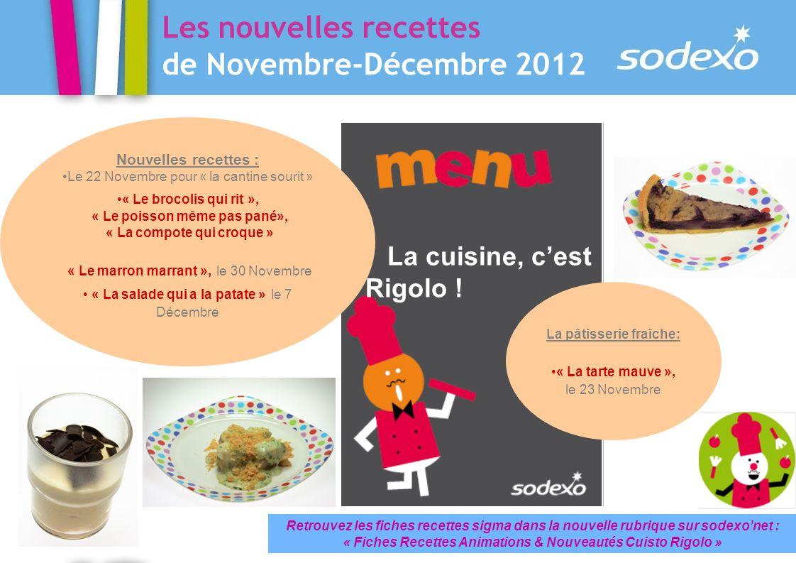Les nouvelles recettes de Novembre-Décembre 2012 La cuisine, cest Rigolo ! Retrouvez les fiches recettes sigma dans la nouvelle rubrique sur sodexonet