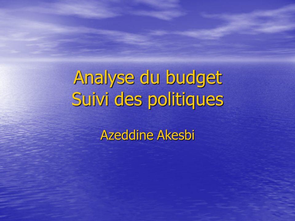 Analyse du budget Suivi des politiques Azeddine Akesbi