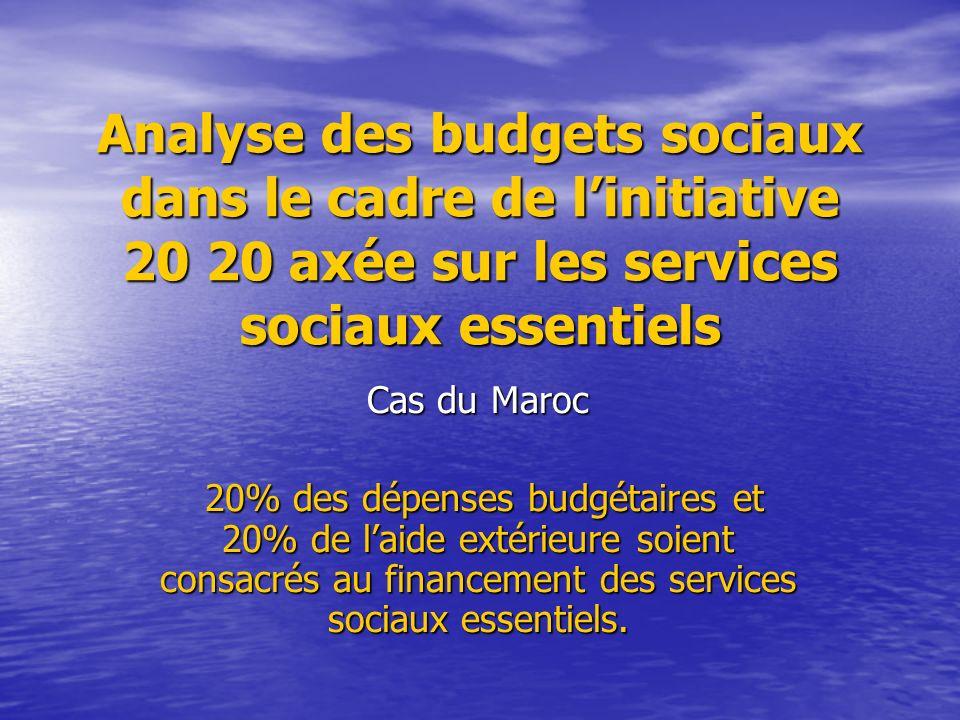 Analyse des budgets sociaux dans le cadre de linitiative 20 20 axée sur les services sociaux essentiels Cas du Maroc 20% des dépenses budgétaires et 2