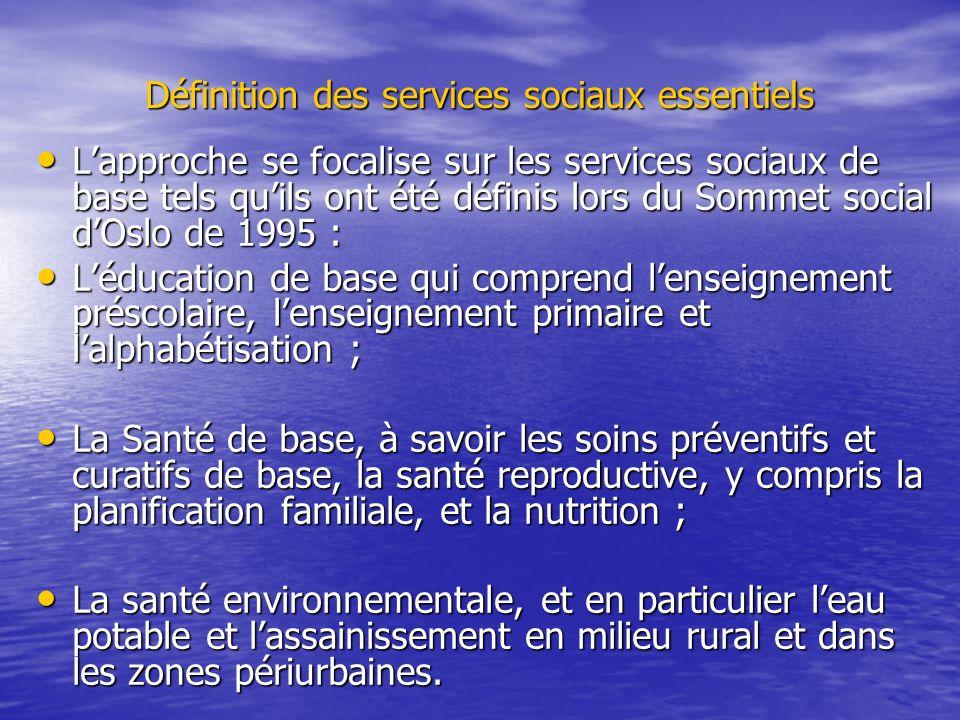 Définition des services sociaux essentiels Lapproche se focalise sur les services sociaux de base tels quils ont été définis lors du Sommet social dOs
