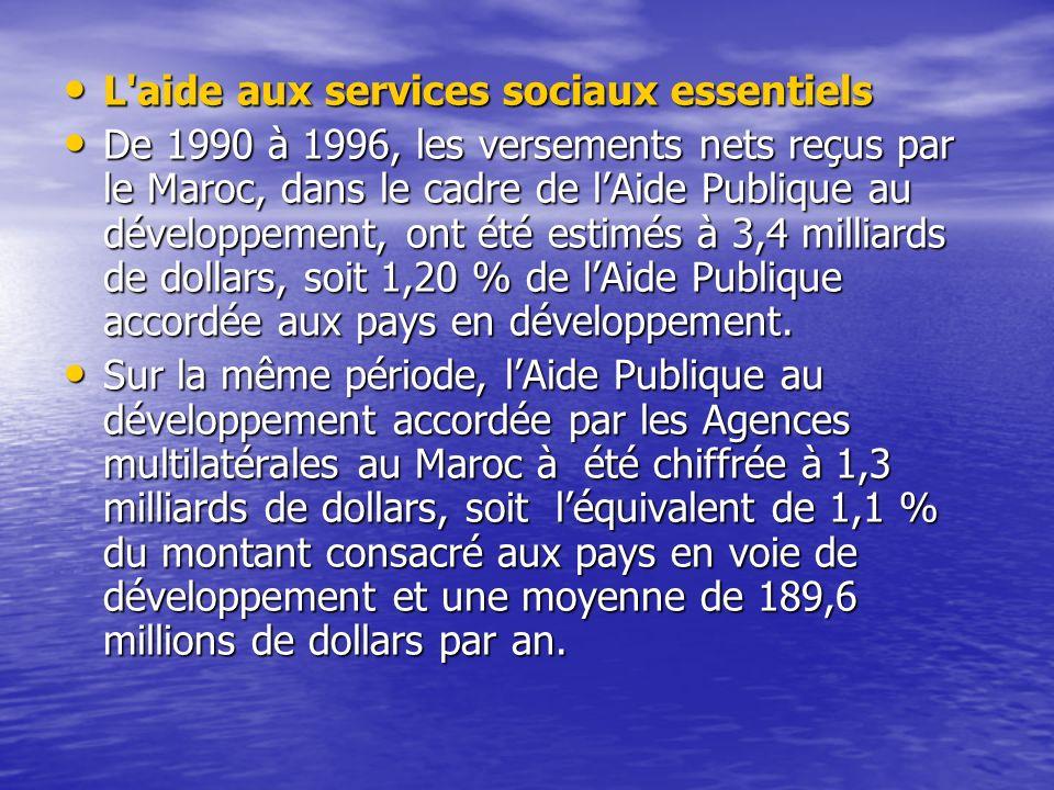L'aide aux services sociaux essentiels L'aide aux services sociaux essentiels De 1990 à 1996, les versements nets reçus par le Maroc, dans le cadre de