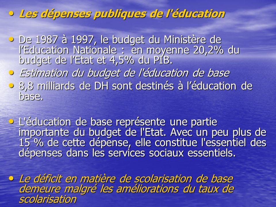 Les dépenses publiques de l'éducation Les dépenses publiques de l'éducation De 1987 à 1997, le budget du Ministère de lEducation Nationale : en moyenn