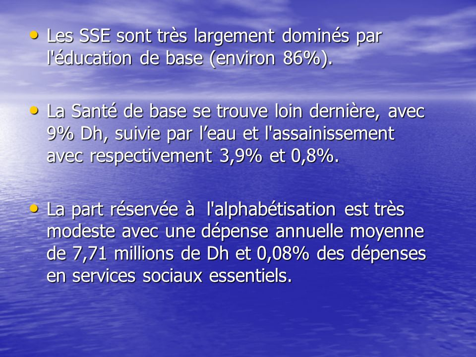 Les SSE sont très largement dominés par l'éducation de base (environ 86%). Les SSE sont très largement dominés par l'éducation de base (environ 86%).