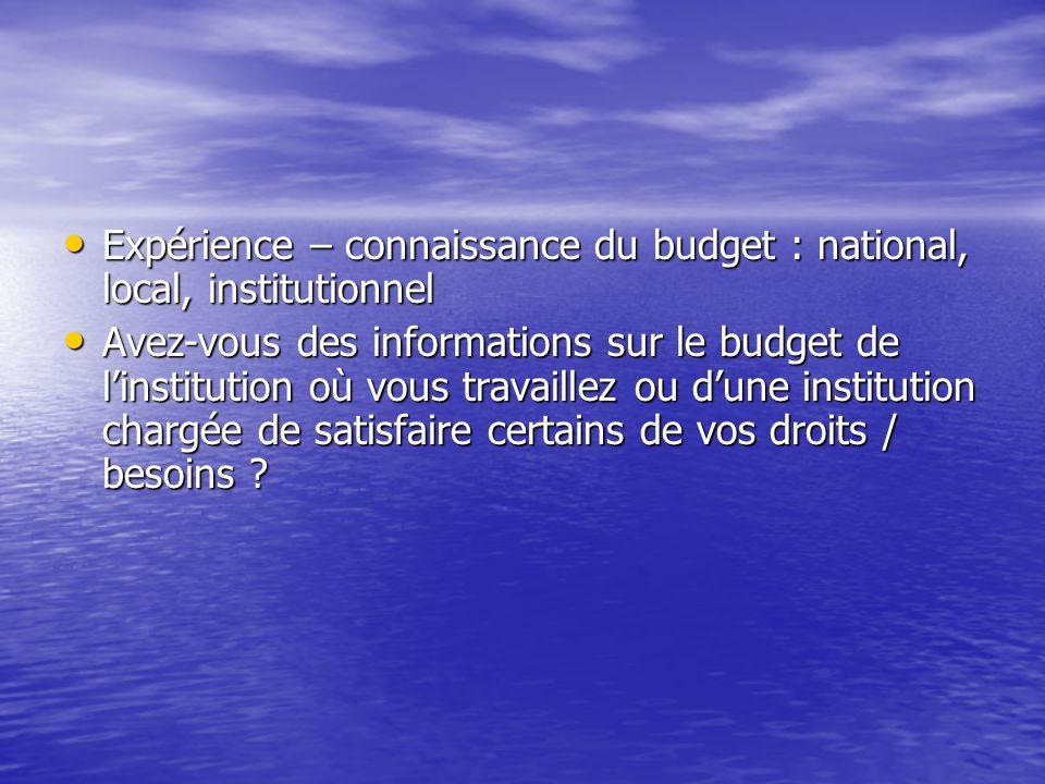 Expérience – connaissance du budget : national, local, institutionnel Expérience – connaissance du budget : national, local, institutionnel Avez-vous