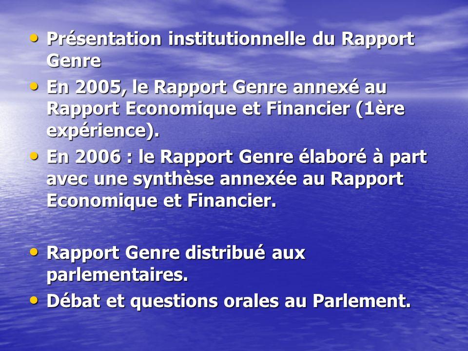Présentation institutionnelle du Rapport Genre Présentation institutionnelle du Rapport Genre En 2005, le Rapport Genre annexé au Rapport Economique e