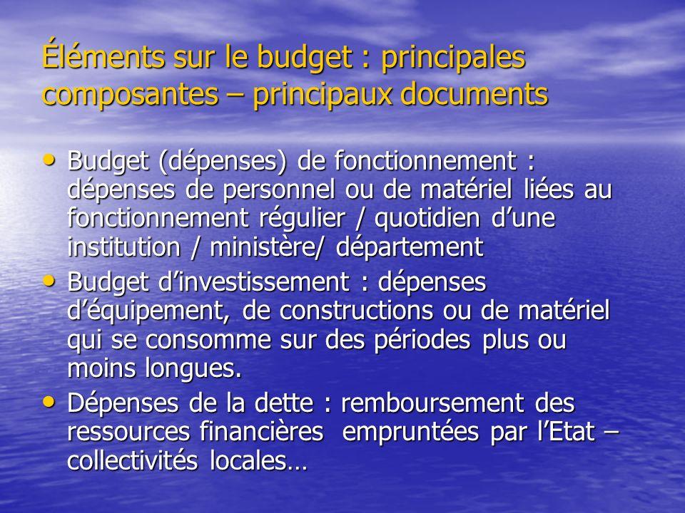 Éléments sur le budget : principales composantes – principaux documents Budget (dépenses) de fonctionnement : dépenses de personnel ou de matériel lié