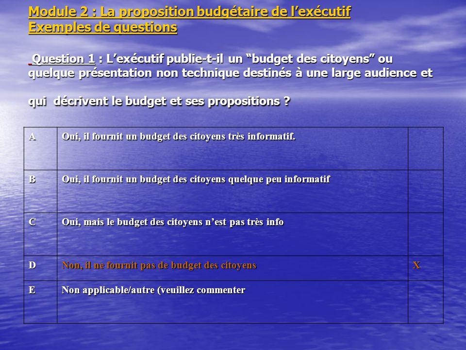 Module 2 : La proposition budgétaire de lexécutif Exemples de questions Question 1 : Lexécutif publie-t-il un budget des citoyens ou quelque présentat