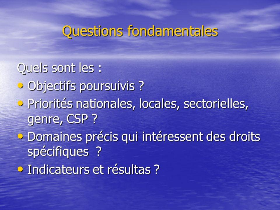 Questions fondamentales Quels sont les : Objectifs poursuivis ? Objectifs poursuivis ? Priorités nationales, locales, sectorielles, genre, CSP ? Prior