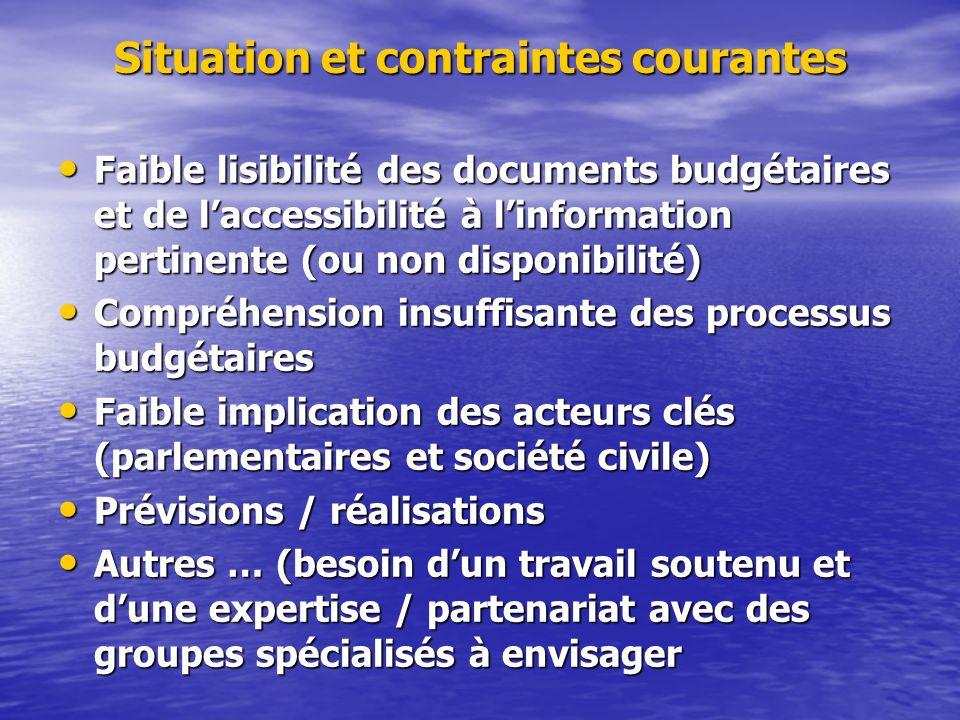 Situation et contraintes courantes Faible lisibilité des documents budgétaires et de laccessibilité à linformation pertinente (ou non disponibilité) F