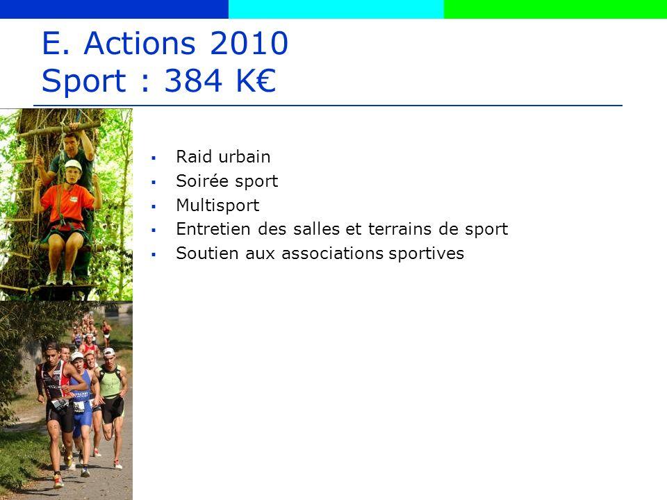 E. Actions 2010 Sport : 384 K Raid urbain Soirée sport Multisport Entretien des salles et terrains de sport Soutien aux associations sportives