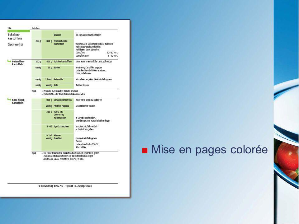 Mise en pages colorée