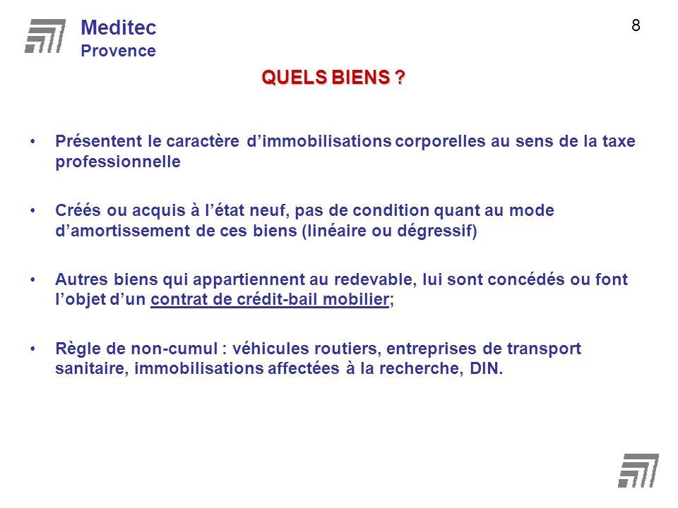 ACTUALISATION LOI DE FINANCEMENT DE LA SECURITE SOCIALE POUR 2009 Meditec Provence 9