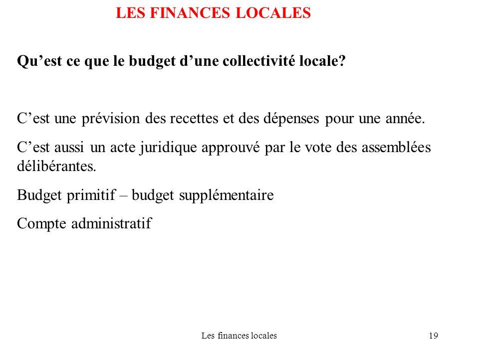 Les finances locales19 LES FINANCES LOCALES Quest ce que le budget dune collectivité locale? Cest une prévision des recettes et des dépenses pour une