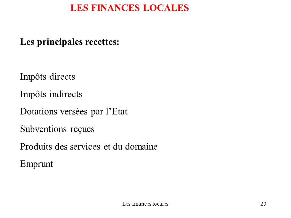 Les finances locales20 LES FINANCES LOCALES Les principales recettes: Impôts directs Impôts indirects Dotations versées par lEtat Subventions reçues P