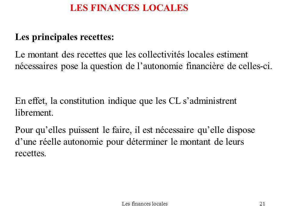 Les finances locales21 LES FINANCES LOCALES Les principales recettes: Le montant des recettes que les collectivités locales estiment nécessaires pose