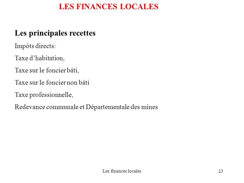 Les finances locales23 LES FINANCES LOCALES Les principales recettes Impôts directs: Taxe dhabitation, Taxe sur le foncier bâti, Taxe sur le foncier n