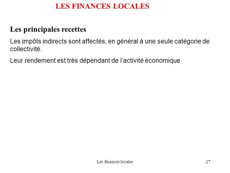 Les finances locales27 LES FINANCES LOCALES Les principales recettes Les impôts indirects sont affectés, en général à une seule catégorie de collectiv
