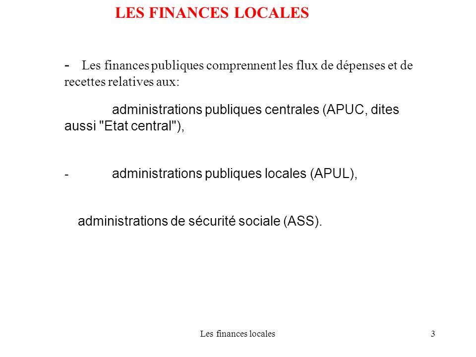 Les finances locales34 LES FINANCES LOCALES Structure des budgets locaux: Principe de léquilibre Recettes = dépenses Le remboursement des emprunts doit être financé par des recettes de fonctionnement Les dépenses et recettes doivent être évaluées avec sincérité