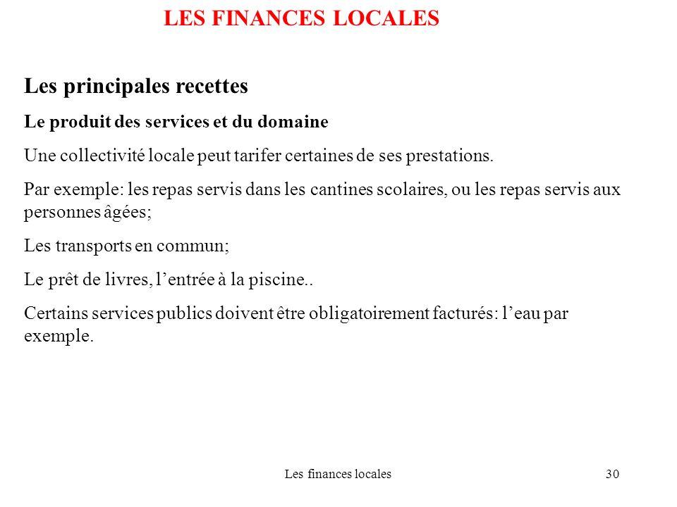 Les finances locales30 LES FINANCES LOCALES Les principales recettes Le produit des services et du domaine Une collectivité locale peut tarifer certai