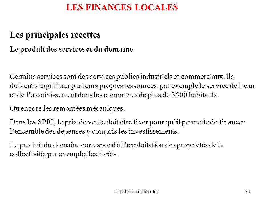 Les finances locales31 LES FINANCES LOCALES Les principales recettes Le produit des services et du domaine Certains services sont des services publics