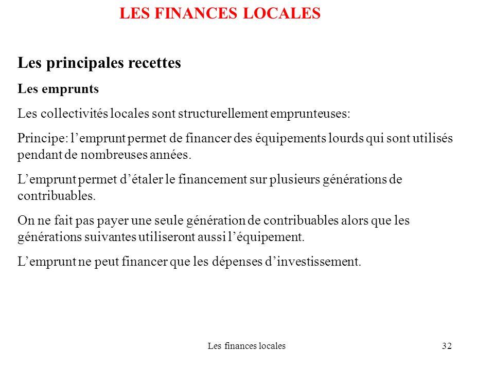 Les finances locales32 LES FINANCES LOCALES Les principales recettes Les emprunts Les collectivités locales sont structurellement emprunteuses: Princi