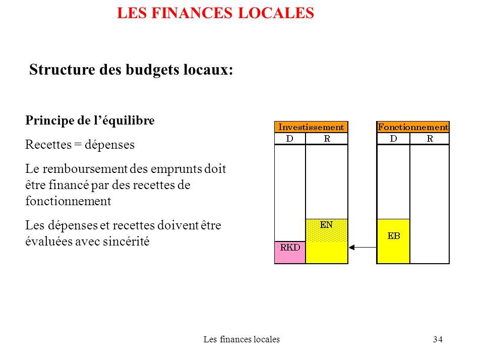 Les finances locales34 LES FINANCES LOCALES Structure des budgets locaux: Principe de léquilibre Recettes = dépenses Le remboursement des emprunts doi