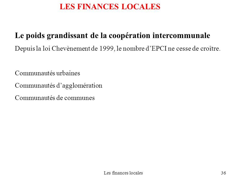 Les finances locales36 LES FINANCES LOCALES Le poids grandissant de la coopération intercommunale Depuis la loi Chevènement de 1999, le nombre dEPCI n