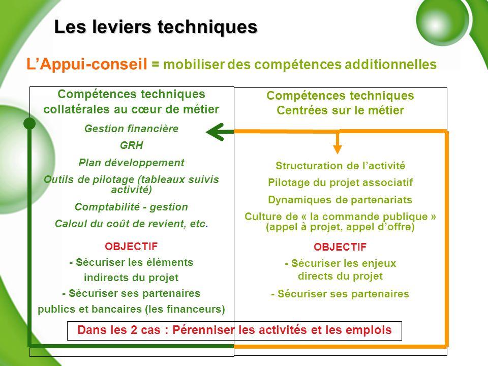 Compétences techniques collatérales au cœur de métier Gestion financière GRH Plan développement Outils de pilotage (tableaux suivis activité) Comptabilité - gestion Calcul du coût de revient, etc.