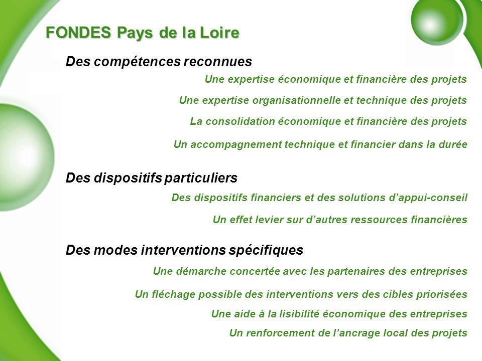 FONDES Pays de la Loire Un accompagnement technique et financier dans la durée Une expertise économique et financière des projets Des dispositifs fina