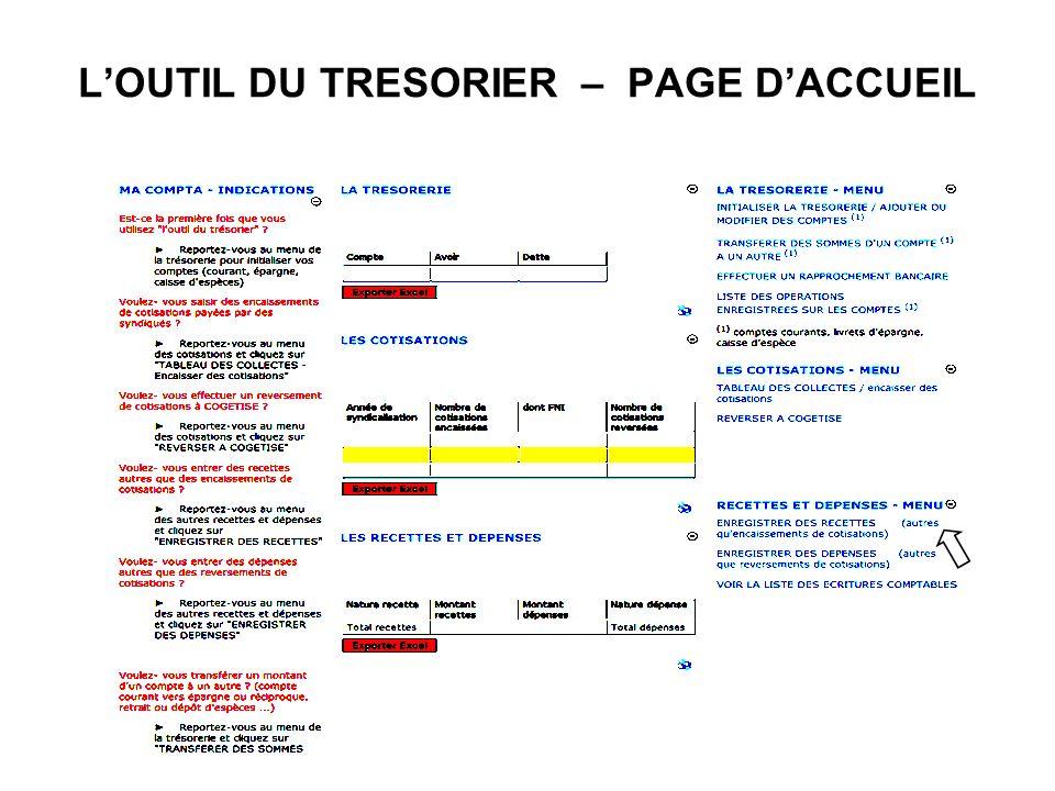 LOUTIL DU TRESORIER – PAGE DACCUEIL