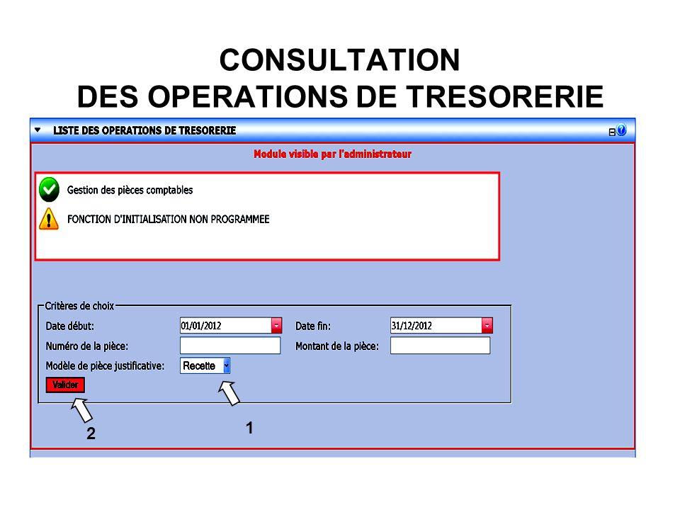 CONSULTATION DES OPERATIONS DE TRESORERIE 2 1