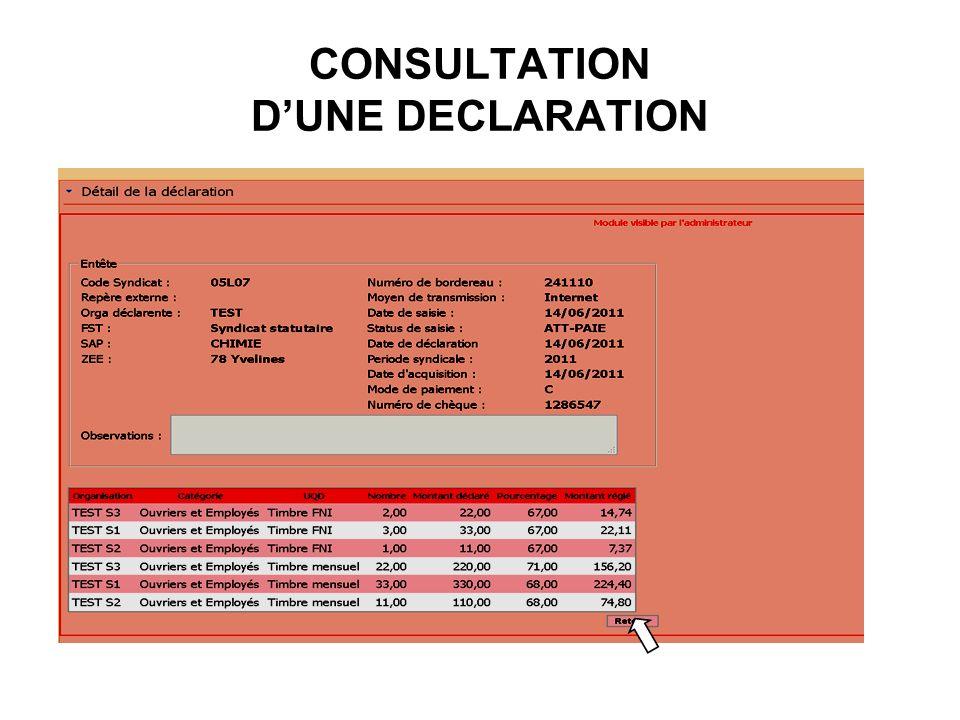 CONSULTATION DUNE DECLARATION