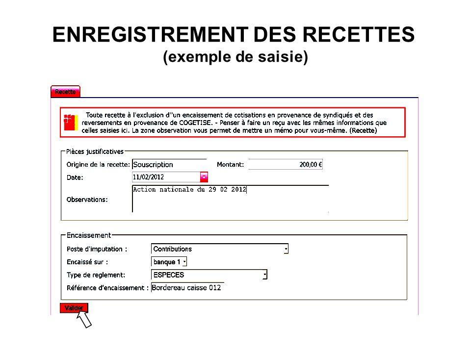 ENREGISTREMENT DES RECETTES (exemple de saisie)