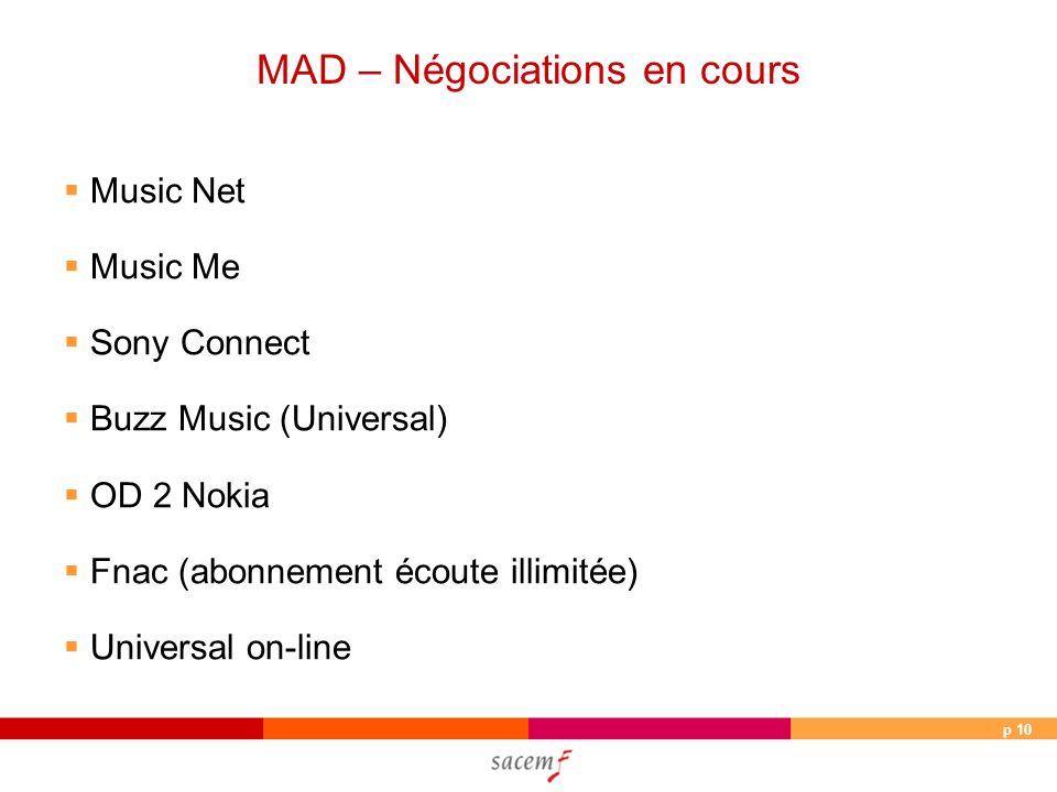 p 10 MAD – Négociations en cours Music Net Music Me Sony Connect Buzz Music (Universal) OD 2 Nokia Fnac (abonnement écoute illimitée) Universal on-line