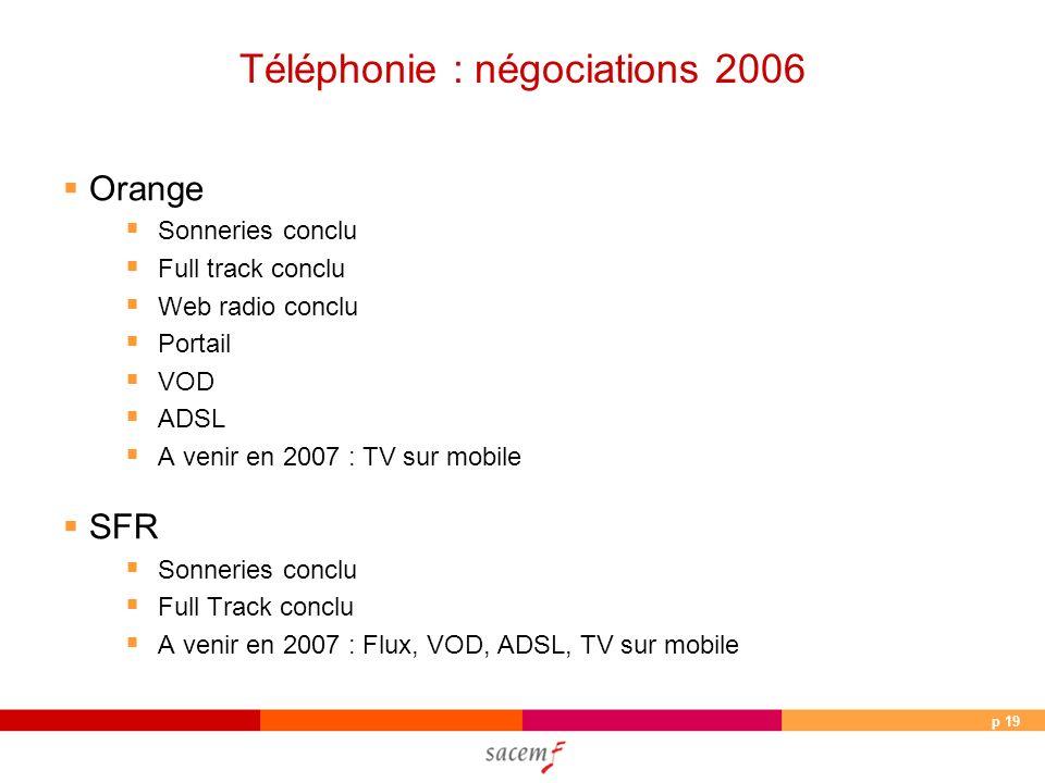p 19 Téléphonie : négociations 2006 Orange Sonneries conclu Full track conclu Web radio conclu Portail VOD ADSL A venir en 2007 : TV sur mobile SFR So