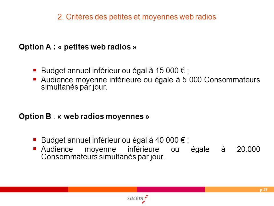 p 27 2. Critères des petites et moyennes web radios Option A : « petites web radios » Budget annuel inférieur ou égal à 15 000 ; Audience moyenne infé