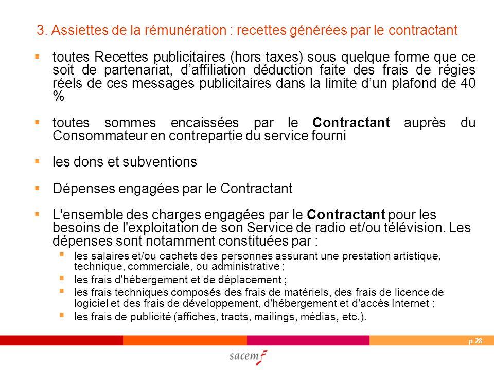 p 28 3. Assiettes de la rémunération : recettes générées par le contractant toutes Recettes publicitaires (hors taxes) sous quelque forme que ce soit
