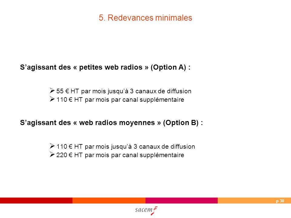p 30 5. Redevances minimales Sagissant des « petites web radios » (Option A) : 55 HT par mois jusquà 3 canaux de diffusion 110 HT par mois par canal s