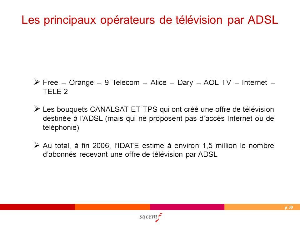p 39 Free – Orange – 9 Telecom – Alice – Dary – AOL TV – Internet – TELE 2 Les bouquets CANALSAT ET TPS qui ont créé une offre de télévision destinée