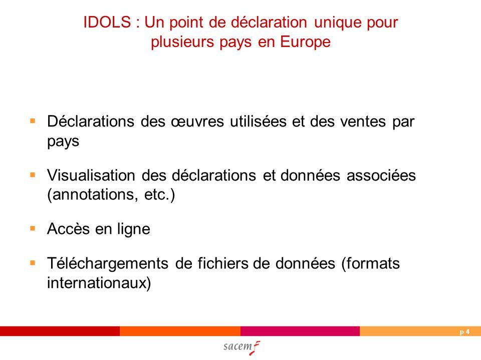 p 4 IDOLS : Un point de déclaration unique pour plusieurs pays en Europe Déclarations des œuvres utilisées et des ventes par pays Visualisation des déclarations et données associées (annotations, etc.) Accès en ligne Téléchargements de fichiers de données (formats internationaux)
