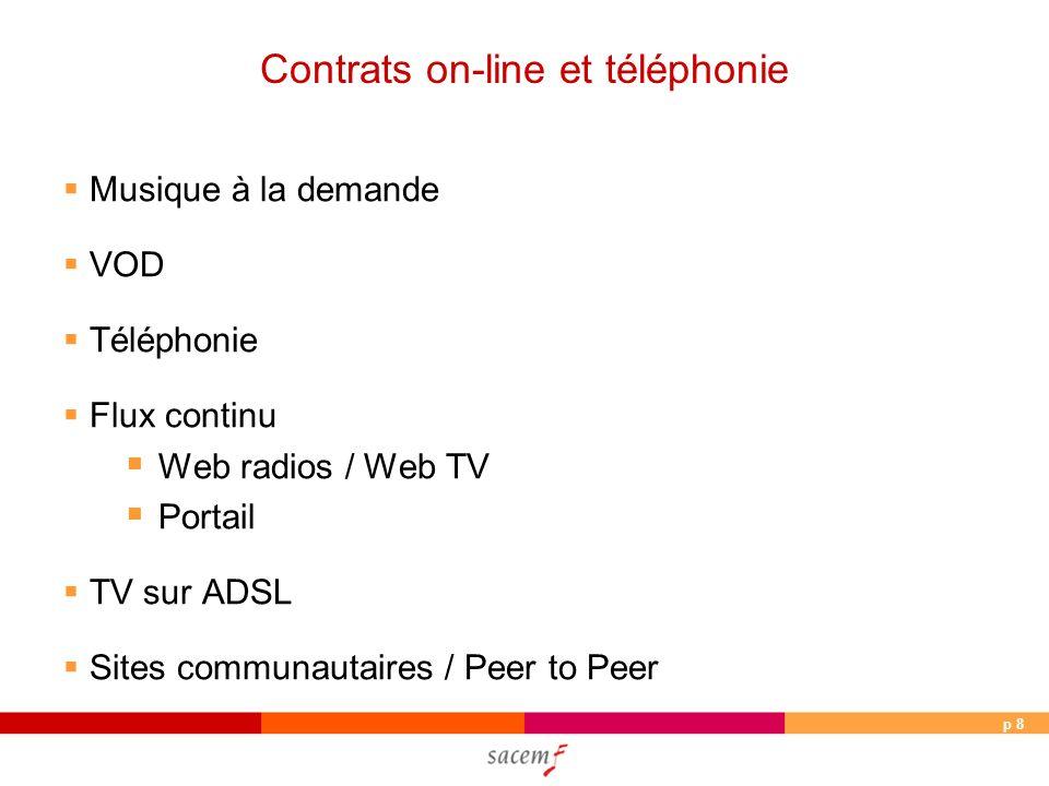 p 19 Téléphonie : négociations 2006 Orange Sonneries conclu Full track conclu Web radio conclu Portail VOD ADSL A venir en 2007 : TV sur mobile SFR Sonneries conclu Full Track conclu A venir en 2007 : Flux, VOD, ADSL, TV sur mobile
