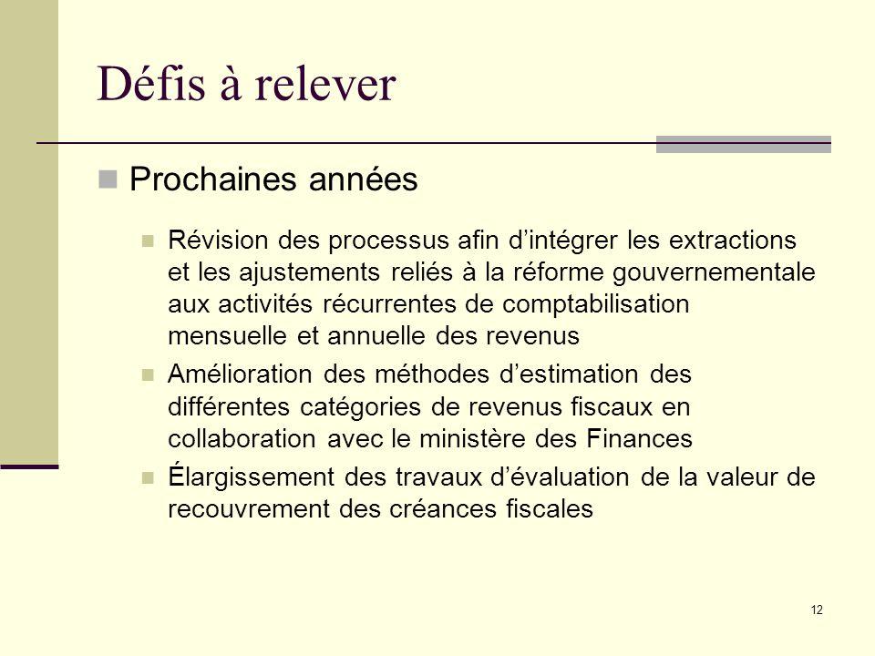 12 Défis à relever Prochaines années Révision des processus afin dintégrer les extractions et les ajustements reliés à la réforme gouvernementale aux